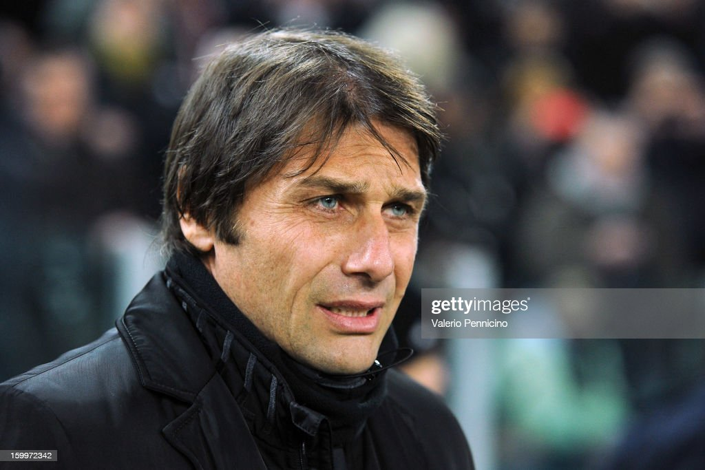 Juventus FC head coach <a gi-track='captionPersonalityLinkClicked' href=/galleries/search?phrase=Antonio+Conte&family=editorial&specificpeople=2379002 ng-click='$event.stopPropagation()'>Antonio Conte</a> looks on prior to the TIM cup match between Juventus FC and S.S. Lazio at Juventus Arena on January 22, 2013 in Turin, Italy.