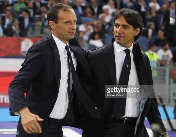 Juventus FC head coach Massimiliano Allegri and SS Lazio head coach Simone Inzaghi react during the TIM Cup Final match between SS Lazio and Juventus...