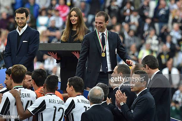 Juventus FC head coach Massimiliano Allegri celebrates after beating UC Sampdoria 50 to win the Serie A Championships after the Serie A match between...