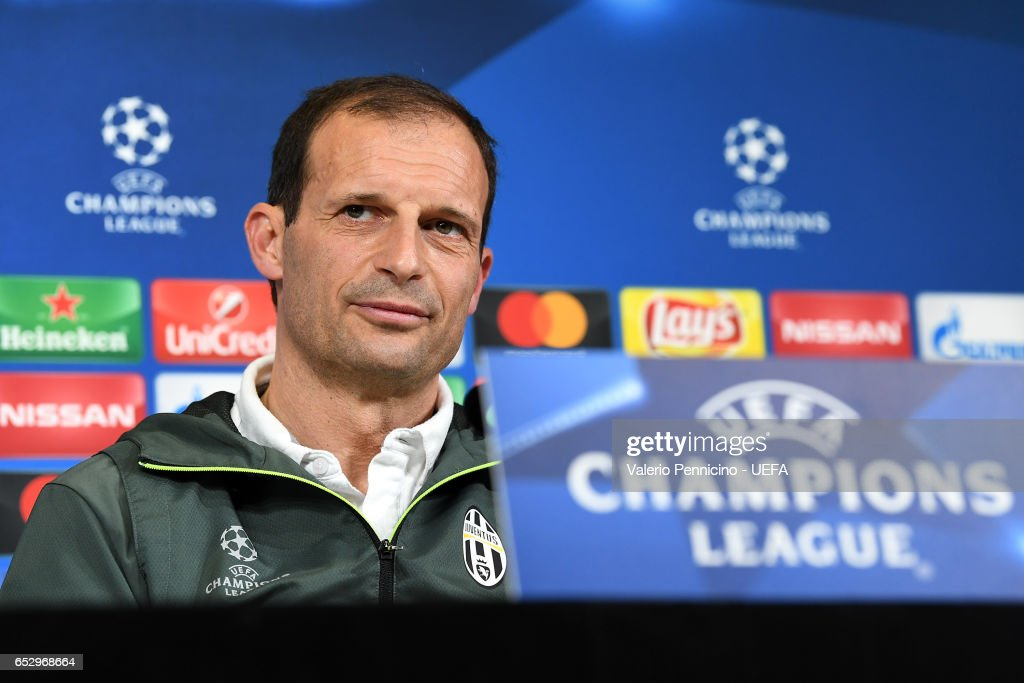 Juventus FC head coach Massimiliano Allegri faces the media during a press conference ahead of the UEFA Champions League Round of 16 second leg match between Juventus FC and FC Porto at Juventus Stadium on March 13, 2017 in Turin, Italy.