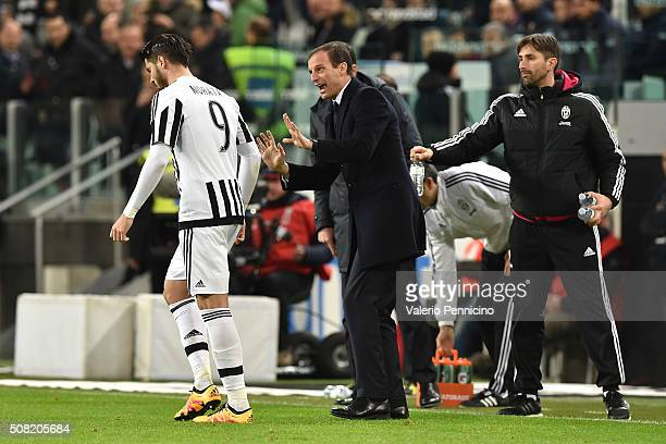 Juventus FC head coach Massimiliano Allegri issues instructions to Alvaro Morata during the Serie A match between Juventus FC and Genoa CFC at...