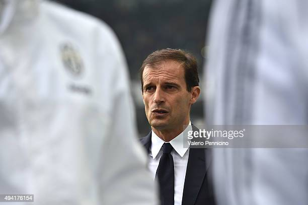 Juventus FC head coach Massimiliano Allegri looks on during the Serie A match between Juventus FC and Atalanta BC at Juventus Arena on October 25...