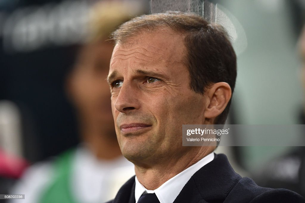 Juventus FC head coach <a gi-track='captionPersonalityLinkClicked' href=/galleries/search?phrase=Massimiliano+Allegri&family=editorial&specificpeople=3470667 ng-click='$event.stopPropagation()'>Massimiliano Allegri</a> looks on during the Serie A match between Juventus FC and Genoa CFC at Juventus Arena on February 3, 2016 in Turin, Italy.