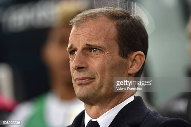 Juventus FC head coach Massimiliano Allegri looks on during the Serie A match between Juventus FC and Genoa CFC at Juventus Arena on February 3 2016...