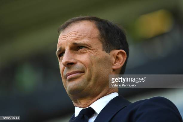 Juventus FC head coach Massimiliano Allegri looks on during the Serie A match between Juventus FC and FC Crotone at Juventus Stadium on May 21 2017...