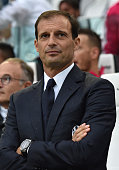Juventus FC head coach Massimiliano Allegri looks on prior to the Serie A match between Juventus FC and Udinese Calcio at Juventus Arena on August 23...