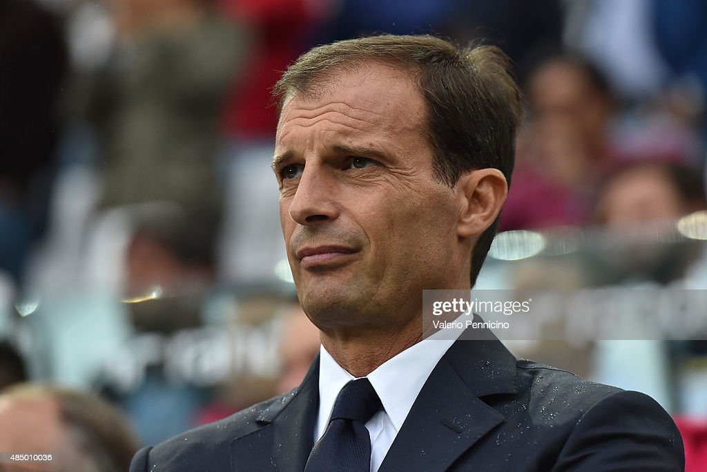 Juventus FC head coach <a gi-track='captionPersonalityLinkClicked' href=/galleries/search?phrase=Massimiliano+Allegri&family=editorial&specificpeople=3470667 ng-click='$event.stopPropagation()'>Massimiliano Allegri</a> looks on prior to the Serie A match between Juventus FC and Udinese Calcio at Juventus Arena on August 23, 2015 in Turin, Italy.