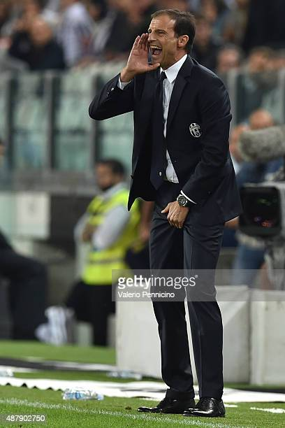 Juventus FC head coach Massimiliano Allegri shouts to his players during the Serie A match between Juventus FC and AC Chievo Verona at Juventus Arena...