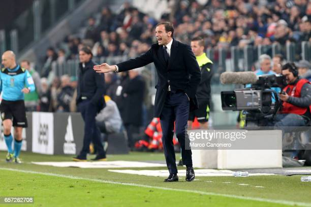 Juventus FC head coach Massimiliano Allegri shouts to his players during the Serie A match between Juventus FC and US Palermo at Juventus Stadium...