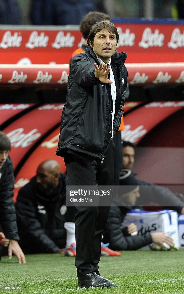 Juventus FC head coch Antonio Conte reacts during the Serie A match between FC Internazionale Milano and Juventus FC at San Siro Stadium on March 30, 2013 in Milan, Italy.