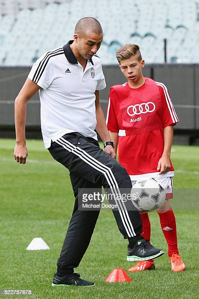 Juventus FC legend David Trezeguet takes part in a clinic with junior footballers during the International Champions Cup Australia Media Opportunity...