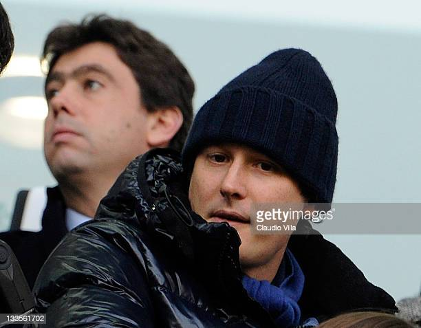Juventus FC president Andrea Agnelli and John Elkann during the Serie A match between Juventus FC and US Citta di Palermo on November 20 2011 in...