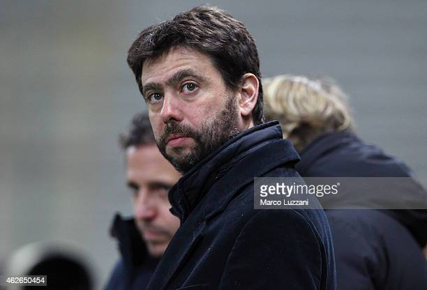Juventus FC president Andrea Agnelli looks on before Juventus FC the TIM Cup match between Parma FC and Juventus FC at Stadio Ennio Tardini on...
