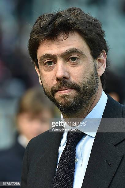 Juventus FC president Andrea Agnelli looks on prior to the Serie A match between Torino FC and Juventus FC at Stadio Olimpico di Torino on March 20...
