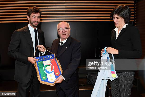 Juventus FC president Andrea Agnelli Mayor of Turin Chiara Appendino and President of Italian Football Federation Carlo Tavecchio pose for...