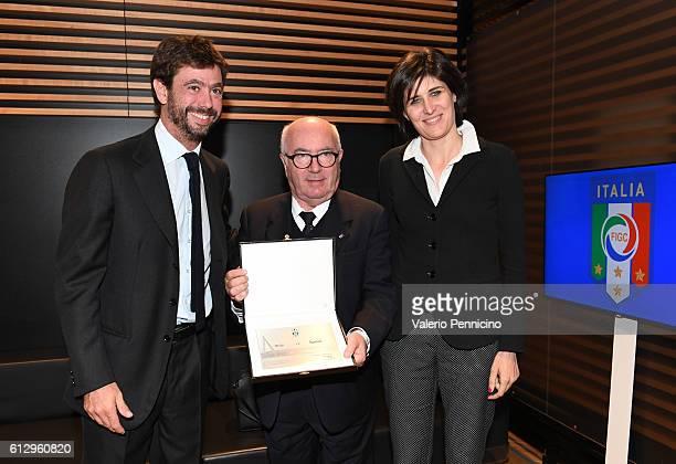 Juventus FC president Andrea Agnelli President of Italian Football Federation Carlo Tavecchio and Mayor of Turin Chiara Appendino pose for...
