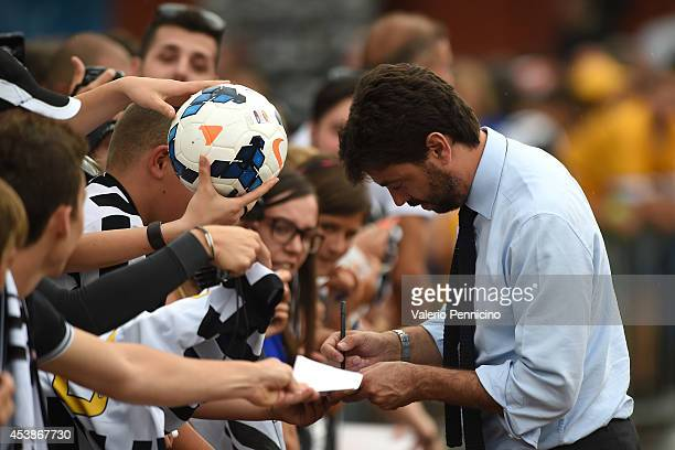 Juventus FC president Andrea Agnelli signs autographs for fans prior to the preseason friendly match between Juventus A and Juventus B on August 20...