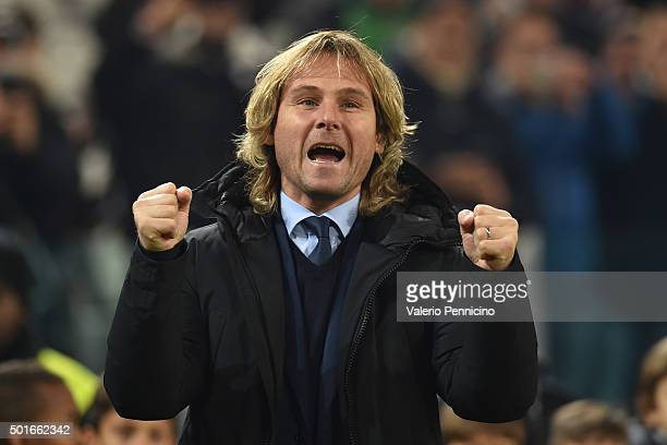 Juventus FC vice president Pavel Nedved salutes the fans prior to the Serie A match betweeen Juventus FC and ACF Fiorentina at Juventus Arena on...