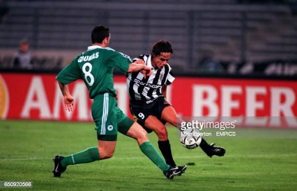 Juventus' Filippo Inzaghi turns away from Panathinaikos' Ioannis Goumas