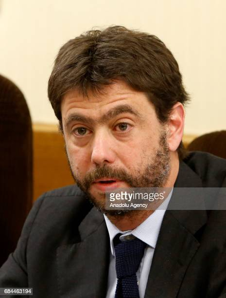 Juventus football club's president Andrea Agnelli prepares to attend an audition on the inquiry regarding alleged connections between club officials...