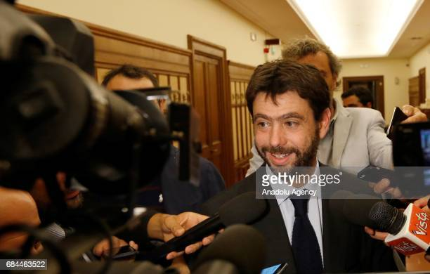 Juventus football club's president Andrea Agnelli speaks to press members after an audition on the inquiry regarding alleged connections between club...