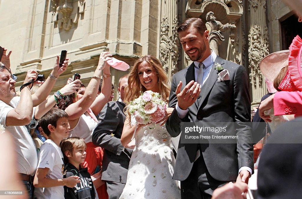 Juventus football player <a gi-track='captionPersonalityLinkClicked' href=/galleries/search?phrase=Fernando+Llorente&family=editorial&specificpeople=2108120 ng-click='$event.stopPropagation()'>Fernando Llorente</a> and Maria Lorente get married at Santa Maria del Coro Basilica on June 20, 2015 in San Sebastian, Spain.