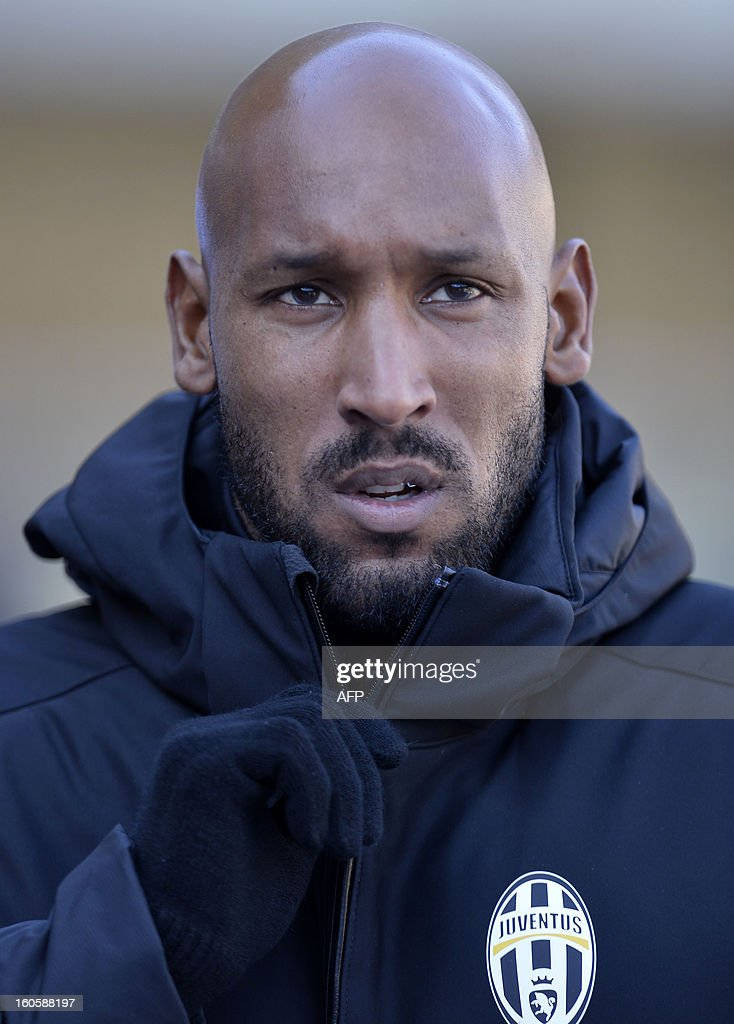 Juventus football player French Nicolas Anelka looks on during the Serie A football match AC Chievo Verona vs Juventus at the Verona's Bentegodi stadium on February 3, 2013.