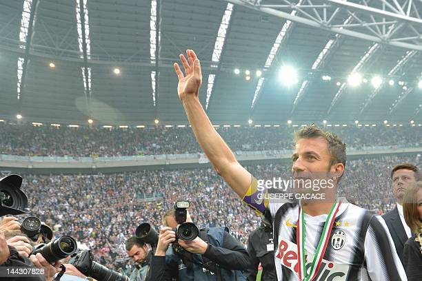 Juventus' forward Alessandro Del Piero celebrates his team's Italian Serie A football trophy the Scudetto during a ceremony after their match against...