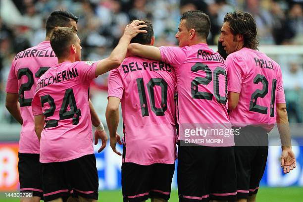 Juventus' forward Alessandro Del Piero celebrates with teammates after scoring during the Italian Serie A football match Juventus against Atalanta on...