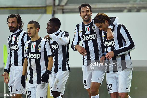 Juventus' forward Alessandro Matri celebrates after scoring a goal with Juventus' forward of Montenegro Mirko Vucinic during the Serie A football...