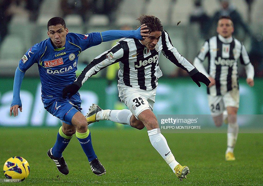 Juventus' forward Alessandro Matri (R) vies with Udinese's Brazilian midfielder Allan Marques Loureiro during their Serie A football match in Turin's Juventus Stadium on January 19, 2013.