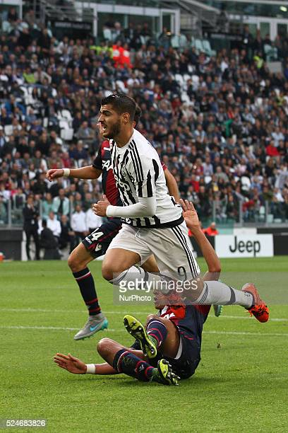 Juventus forward Alvaro Morata in action during the Serie A football match n7 JUVENTUS BOLOGNA on 04/10/15 at the Juventus Stadium in Turin Italy...