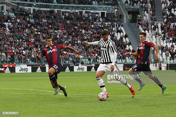Juventus forward Alvaro Morata shoots the ball during the Serie A football match n7 JUVENTUS BOLOGNA on 04/10/15 at the Juventus Stadium in Turin...