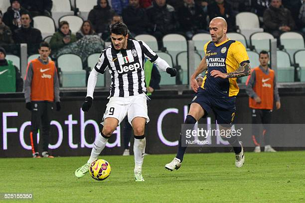 Juventus forward Alvaro Morata vies with Hellas Verona defender Guillermo Rodriguez during the Serie A football match n19 JUVENTUS HELLAS VERONA on...