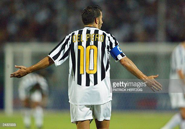 Juventus forward and captain Alessandro Del Piero gestures 12 August 2003 in 'del Conero' stadium in Ancona during the match Inter Milan/ Juventus...