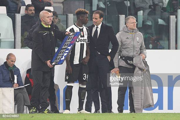 Juventus forward Bioty Moise Kean ready to play for the first time during the Serie A football match n13 JUVENTUS PESCARA on at the Juventus Stadium...