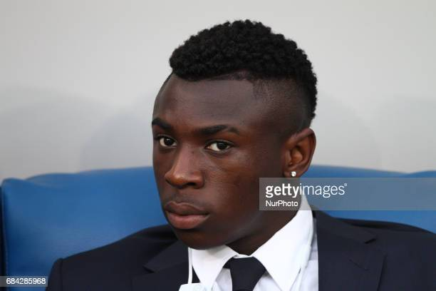 Juventus forward Bioty Moise Kean waits on the bench during the Coppa Italia final football match JUVENTUS LAZIO on at the Stadio Olimpico in Rome...