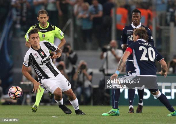 Juventus' forward from Argentina Paulo Dybala controls the ball during the TIM Italy Cup Final football match SS Lazio vs Juventus FC at the Olimpico...