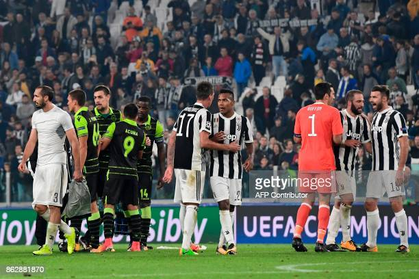 Juventus' forward from Croatia Mario Mandzukic Juventus' defender from Brazil Alex Sandro Juventus' goalkeeper from Italy Gianluigi Buffon Juventus'...