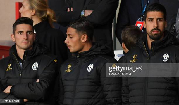 Juventus' forward from Italy Federico Mattiello Juventus' midfielder from Italy Rolando Mandragora and Juventus' midfielder from Germany Sami Khedira...