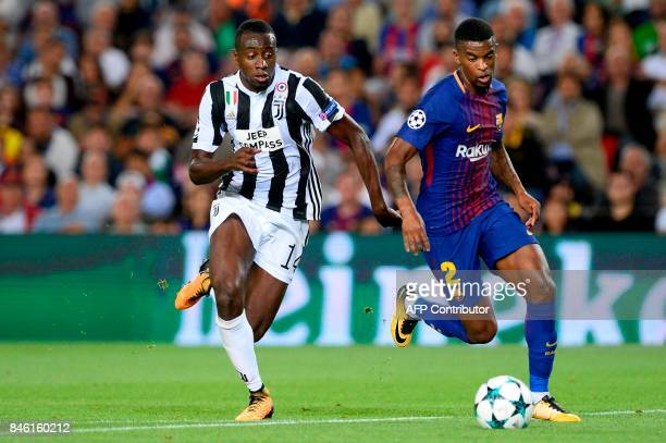 Juventus' forward from Italy Federico Mattiello vies with Barcelona's defender from Portugal Nelson Semedo during the UEFA Champions League Group D...