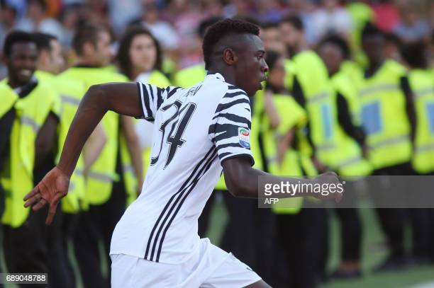 Juventus' forward from Italy Moise Kean celebrates after scoring during the Italian Serie A football match at the 'Renato Dall'ara' stadium in...