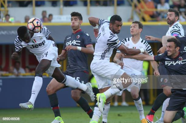Juventus' forward from Italy Moise Kean scores during the Italian Serie A football match at the 'Renato Dall'ara' stadium in Bologna on May 27 2017 /...