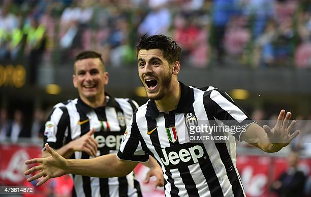 Juventus' forward from Spain Alvaro Morata celebrates after scoring during the Italian Serie A football match Inter Milan vs Juventus on May 16 2015...