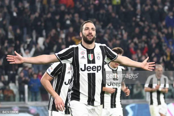 Juventus forward Gonzalo Higuain celebrates after scoring his goal during the Serie A football match n25 JUVENTUS PALERMO on at the Juventus Stadium...
