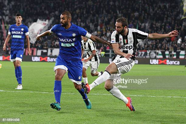 Juventus forward Gonzalo Higuain shoots the ball during the Serie A football match n8 JUVENTUS UDINESE on at the Juventus Stadium in Turin Italy...