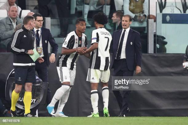 Juventus forward Juan Cuadrado substituded by Juventus midfielder Mario Lemina during the Uefa Champions League quarter finals football match...