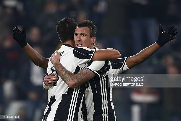 Juventus' forward Mario Mandzukic from Croatia celebrates after scoring a goal during the Italian Serie A football match Juventus vs Pescara on...
