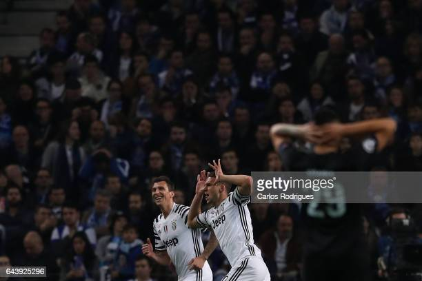 Juventus' forward Marko Pjaca from Croacia celebrates scoring Juventus first goal during the match between FC Porto v Juventus UEFA Champions League...