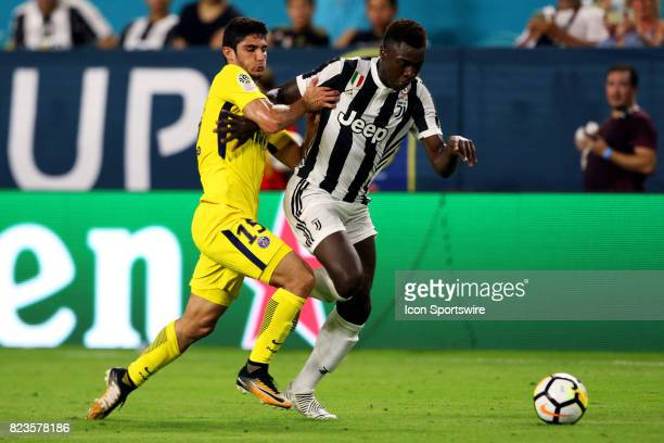 Juventus forward Moise Kean and Paris SaintGermain forward Gonçalo Guedes battle for the ball during the second half of the International Champions...